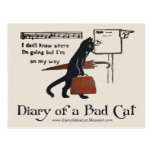Diary of a Bad Cat Postcard (Vintage Black Cat)