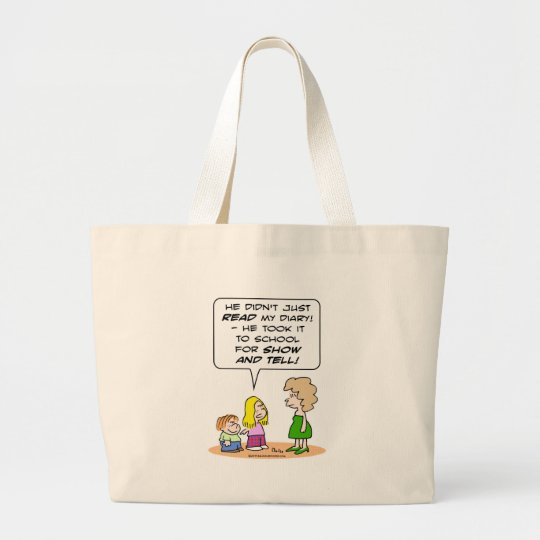 diary school show and tell large tote bag