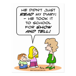 diary school show and tell postcard