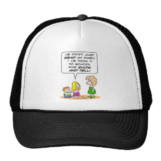 diary school show and tell trucker hat