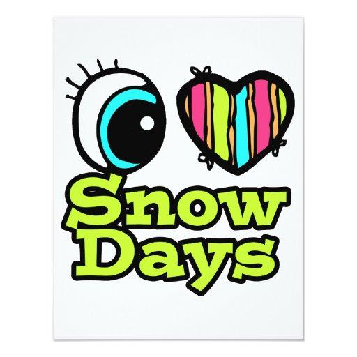 """Días brillantes de la nieve del amor del corazón I Invitación 4.25"""" X 5.5"""""""