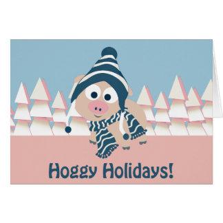 ¡Días de fiesta de Hoggy! Cerdo del invierno Tarjeta Pequeña