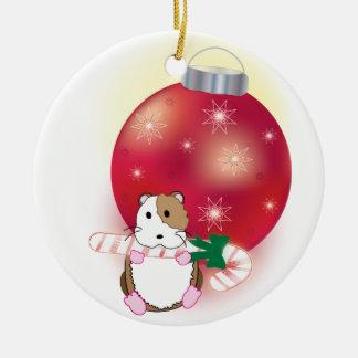 Días de fiesta del hámster adorno navideño redondo de cerámica