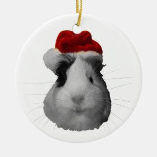 Días de fiesta del navidad del conejillo de Indias Adorno Redondo De Cerámica