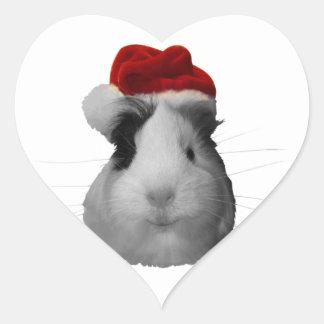 Días de fiesta del navidad del conejillo de Indias Pegatina En Forma De Corazón