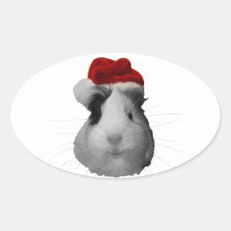 Días de fiesta del navidad del conejillo de Indias Pegatina Ovalada