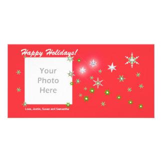Días de fiesta del rojo de la chispa de la estrell tarjetas fotográficas personalizadas