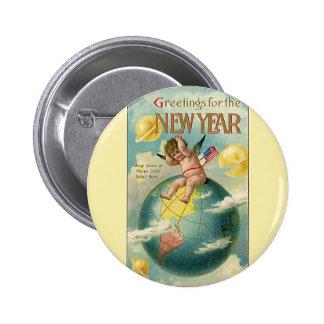 Días de fiesta del vintage saludos por el Año Nue Pin