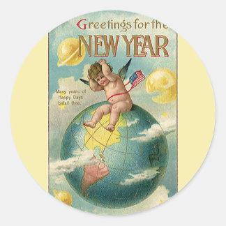 Días de fiesta del vintage, saludos por el Año Pegatina Redonda