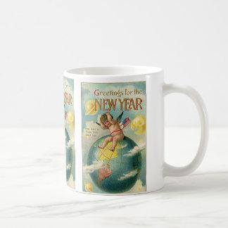 Días de fiesta del vintage, saludos por el Año Tazas De Café