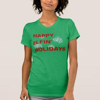 Días de fiesta felices de Elfin Camisetas
