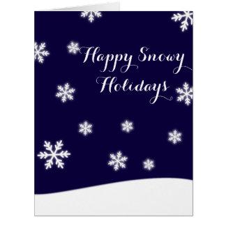 Días de fiesta felices Nevado (personalizable) Tarjeta De Felicitación Grande
