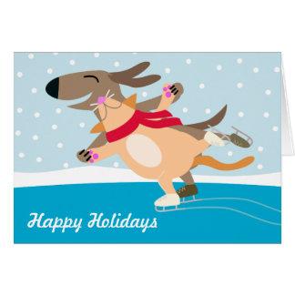 Días de fiesta Patinar-Felices del hielo del perro Tarjeta De Felicitación