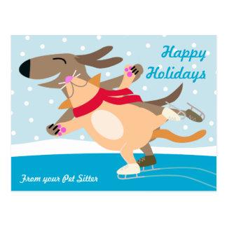 Días de fiesta Patinar-Felices del perro y del Tarjeta Postal