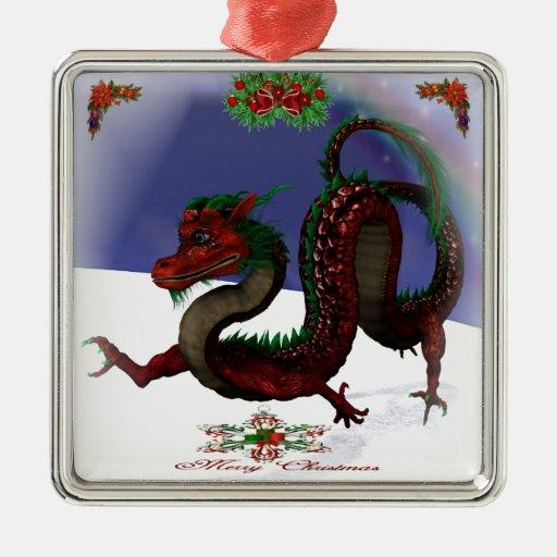 Días de fiesta rojos del dragón adorno cuadrado plateado