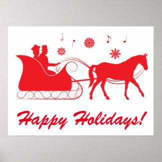 Días de fiesta traídos por caballo del trineo póster
