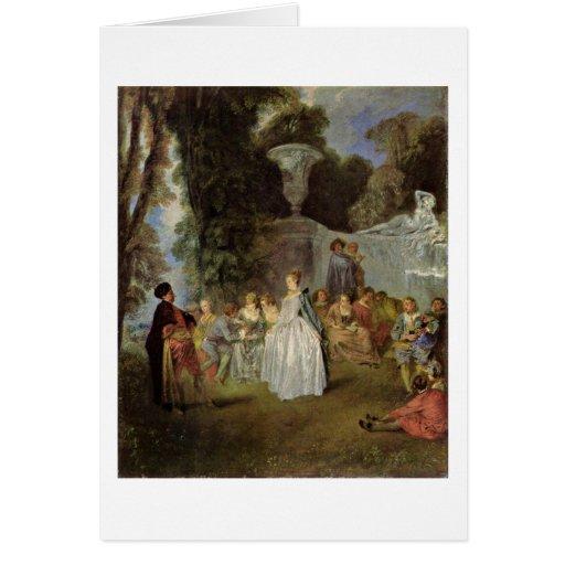 Días de fiesta venecianos de Antoine Watteau Tarjeta De Felicitación