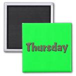 Días de la semana - jueves imán para frigorífico