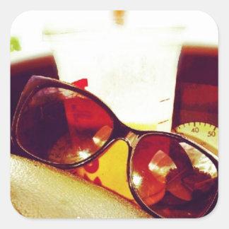 Días de verano pegatina cuadrada