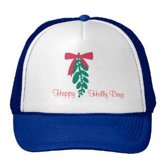 Días del acebo de WagsToWishes_Mistletoe_Happy Gorro De Camionero