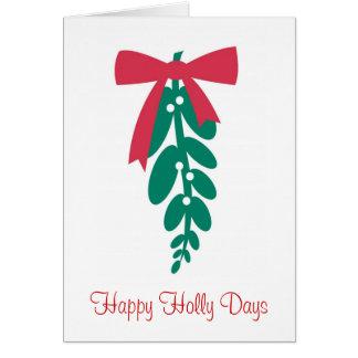 Días del acebo de WagsToWishes_Mistletoe_Happy Tarjeta De Felicitación