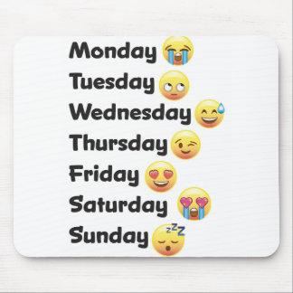 Días del cojín de ratón del ordenador de Emoji de Alfombrillas De Raton