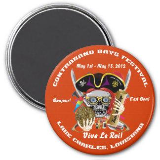 Días del contrabando del pirata de Luisiana 30 Imán Redondo 7 Cm