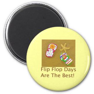 Días del flip-flop imán redondo 5 cm