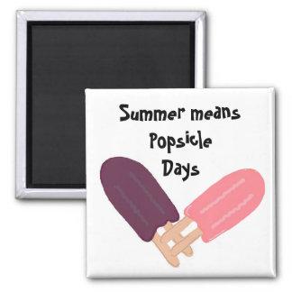 Días del Popsicle Imán Cuadrado