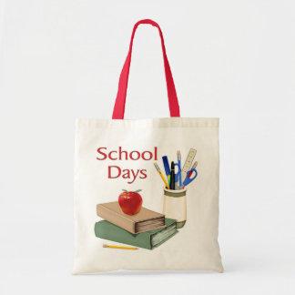 Días escolares bolsas lienzo