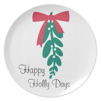 Días _Happy del acebo de WagsToWishes®_Mistletoe Plato De Cena
