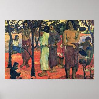 Días hermosos (cubo Mahana del cubo) por Gauguin P Poster