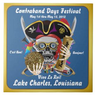 Días Lake Charles, Luisiana del pirata. 30 colores Azulejo Cuadrado Grande