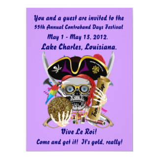 Días Lake Charles, Luisiana del pirata. 30 colores Invitación 16,5 X 22,2 Cm