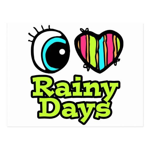 Días lluviosos del ojo del amor brillante del cora postales