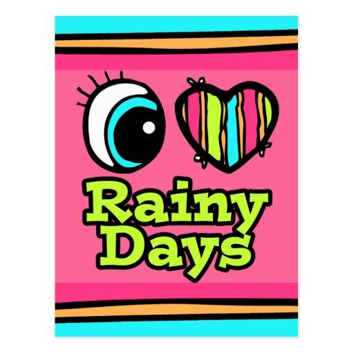 Días lluviosos del ojo del amor brillante del cora tarjetas postales