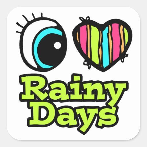 Días lluviosos del ojo del amor brillante del colcomanias cuadradases
