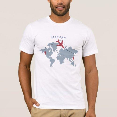 Diaspo Mens Basic Dark Tee _ The World Traveler
