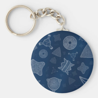 Diatoms - microscopic sea life basic round button keychain