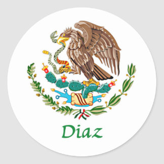 Diaz Mexican National Seal Round Sticker