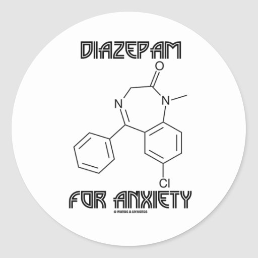 Diazepam For Anxiety (Chemical Molecule) Round Sticker
