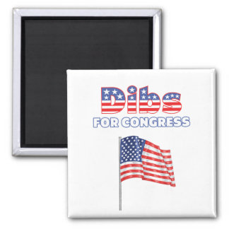 Dibs para el diseño patriótico de la bandera ameri imán cuadrado
