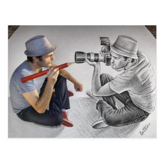 Dibuje a lápiz contra la cámara - arte 3D - fotógr Tarjeta Postal