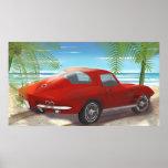 Dibujo 1963 de la escena de la playa del Corvette Posters