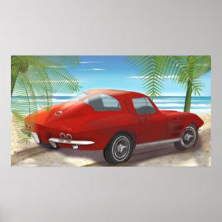 Dibujo 1963 de la escena de la playa del Corvette Póster