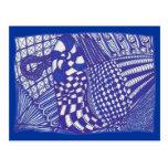 Dibujo abstracto blanco azul de Zentangle, Tarjeta Postal