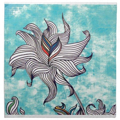 dibujo abstracto de la flor servilletas imprimidas