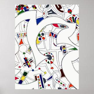 Dibujo abstracto grande de la tinta poster