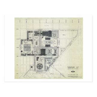 Dibujo aéreo del concepto de la aguja del espacio tarjeta postal