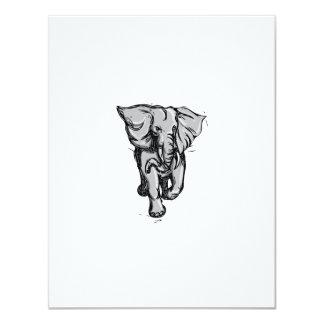 """Dibujo aislado de furia del elefante invitación 4.25"""" x 5.5"""""""